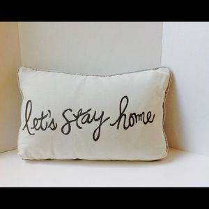 Other - Let's Stay Home Cream Grey Pillow